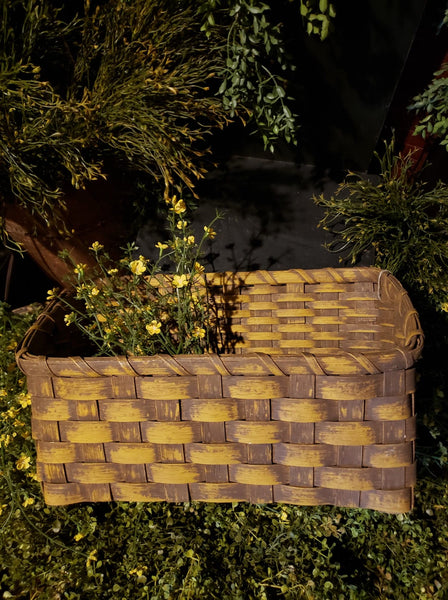 "#PBBGN57 Primitive Mustard Handmade ""Slant"" Basket (Made In USA)"