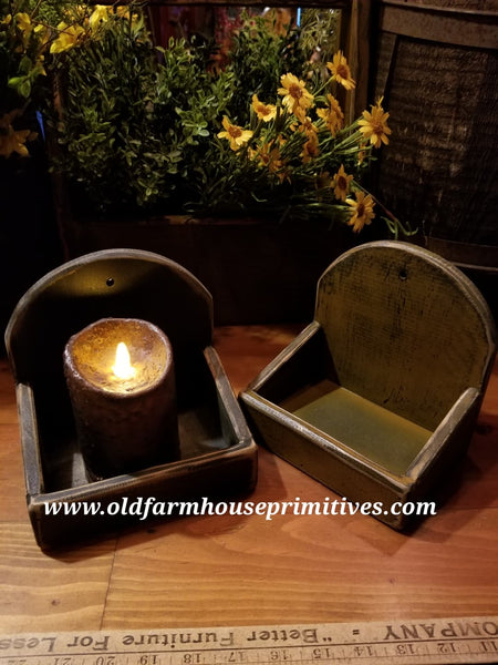 "#PPWM4A Primitive ""Mustard"" Wood Candle/Soap Box"