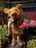 "#RPTT7 Primitive Standing Girl Bear Holding American Flag ""Star"" (Made In USA)"