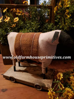 "#EVE5 Primitive Sheep 🐑  Pull Toy With ""Mustard"" Wool Blanket (Made In USA)"