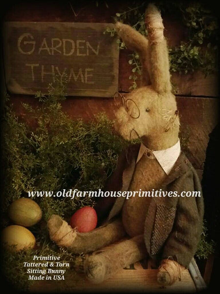 "#TT9 Primitive Tattered And Torn Sitting Rabbit ""Walter"" 🐇 With  Glasses"