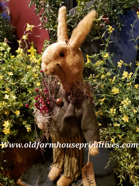 "#RM23 Primitive Standing Tattered & Torn Standing Boy Rabbit ""Harold"" (Made In USA) BACK IN STOCK!"