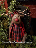 "#LKR289 Primitive Large Sitting Reindeer ""Ruby"" Buffalo Check (Made In USA)"