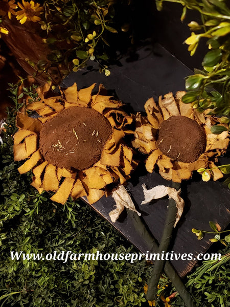 "#PRSF1 Primitive Handmade Raggedy 🌻Sunflower 16"" (Made In USA)"