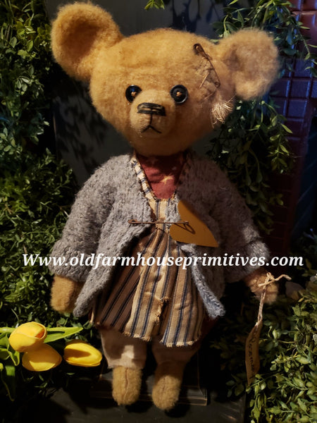 "#RM26 Primitive Tattered And Torn Girl Bear 🐻 ""Rosemary"" (Made In USA)"