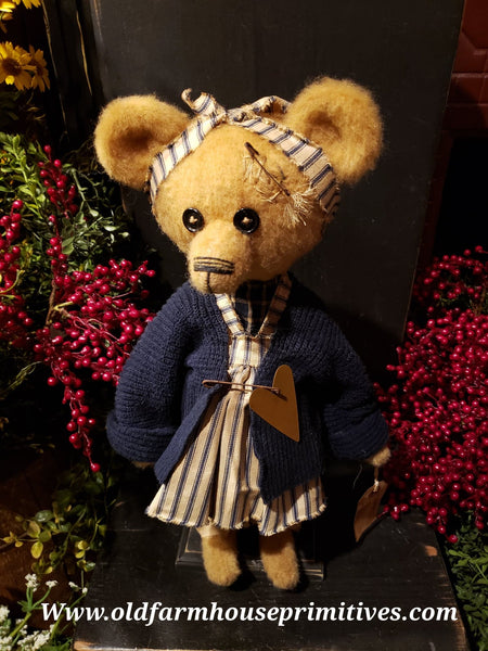 "#RM77 Primitive Tattered And Torn Girl Bear 🐻 ""Ruth"" (Made In USA)"