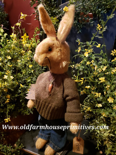 "#RM78 Primitive Standing Tattered & Torn Standing Boy Rabbit ""Peter""  Made In USA) 🐰IN STOCK!"