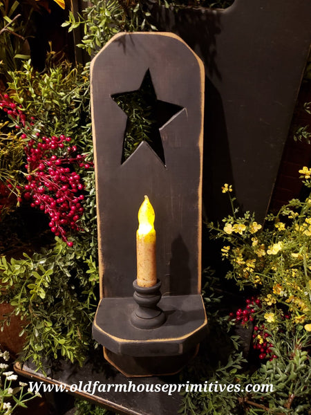 "#PNW9 Primitive Star ""Black"" Wood Candle Sconce (Made In USA)"
