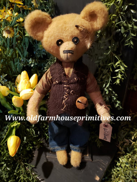 "#RM31 Primitive Tattered And Torn Boy Bear 🐻 ""Wilber"" (Made In USA)"