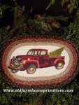 #PRTC1 Red Truck Hauling Christmas Tree Place Mat