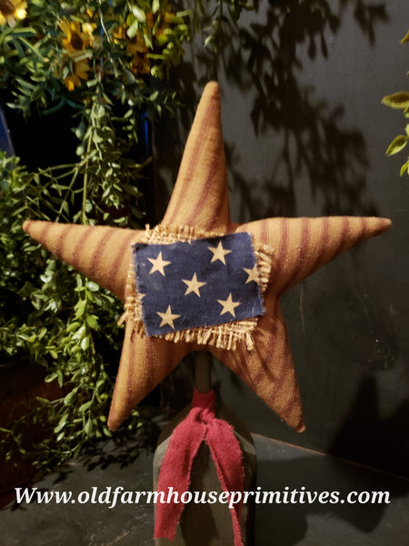 #TBH77 Primitive Americana Homespun Star On Base (Made In USA) Back In Stock!