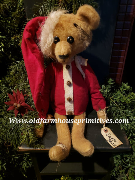 "#PTT12 Primitive Tattered & Torn Sitting ""Santa Bear"" (Made IN USA)"
