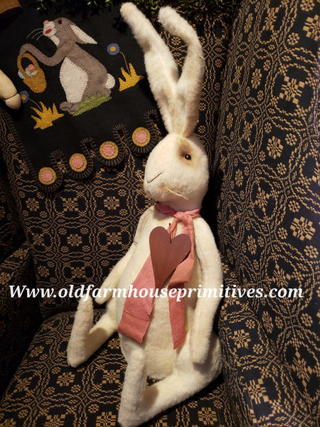 #LKB4 Large Primitive White Sitting Rabbit (Made In USA) Back In Stock!