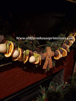 #BJBC98 Primitive Chunky 3' Gingerbread Garland Made In USA!