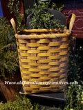 "#PBBGN323 Primitive Large Mustard With Brown Handmade ""Cereal"" Basket  (Made In USA)"