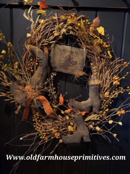 "#RSN24 Primitive Fall ""Witch Hat & Boots"" in Twig Wreath (Made In USA) More On Order"