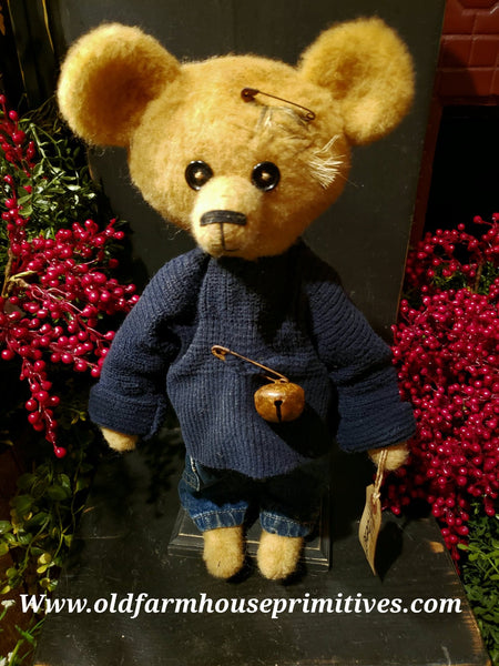 "#RM76 Primitive Tattered And Torn Boy Bear 🐻 ""Albert"" (Made In USA)"