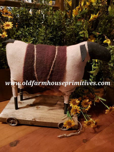"#EVE4 Primitive Sheep 🐑 Pull Toy With ""Burgundy"" Wool Blanket (Made In USA)"