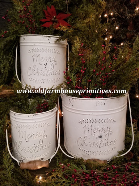 "#LH11 Primitive Cream ""Merry Christmas"" Metal Pails With Handles"