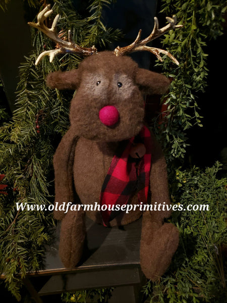 "#LKR25  Primitive Reindeer ""Rudolph"" 🦌  With Scarf  (Made In USA)"