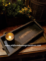 "#PPWM2 Primitive ""Black"" Distressed Candle Tray (Made In USA)"