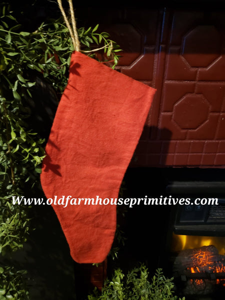 #PRCSS Primitive Small Hanging Red Christmas Stocking  (Made In USA)