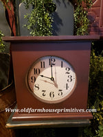 "#PSQC2 Primitive ""Plantation Red"" Mantle Clock (Made In USA)"