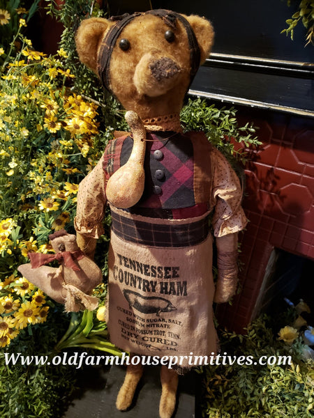 "#RP25 Primitive Tall Standing Girl Bear ""Scarlet"" Holding Chicken 🐓  Made In USA)"