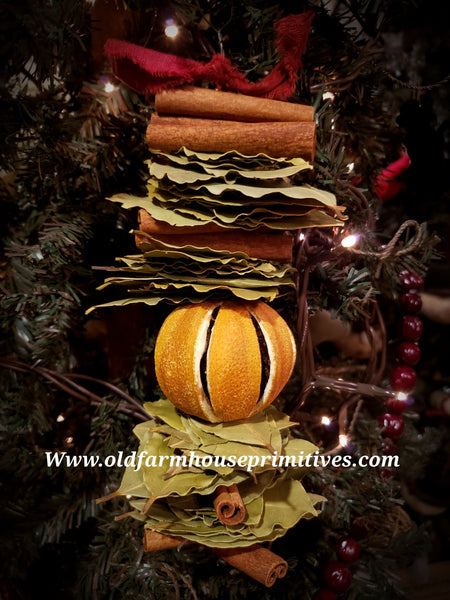 "#BJBC2 Primitive ""Cinnamon Spice"" Scented Dried Whole Slit Orange Garland (Made In Maine)"