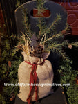 #PBBWPT Primitive Burlap Bag With Pine Tree  (Made In USA)