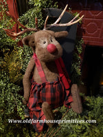 "#LKR278 Primitive Large Sitting Reindeer ""Rudolph"" Buffalo Check (Made In USA)"