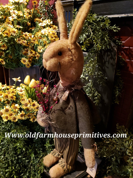 "#RM38 Primitive Medium Tattered & Torn Standing Boy Rabbit ""Toby"" (Made In USA ) 🐰IN STOCK!"