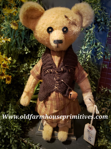 "#RM29 Primitive Tattered And Torn Girl Bear 🐻 ""Wilma"" (Made In USA)"