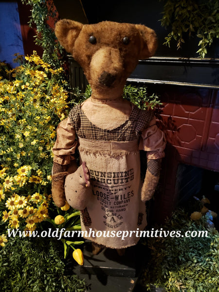 "#RP21 Primitive Tall Standing Girl Bear ""Patsy"" With Chicken (Made In USA)"