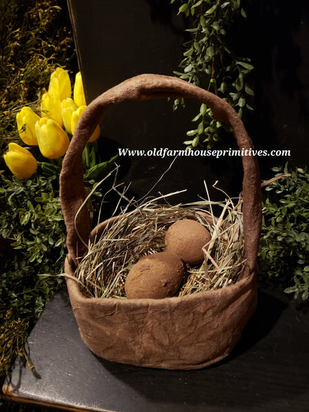 #PNS52 Primitive Basket Of Eggs 🐰 (Made In USA)