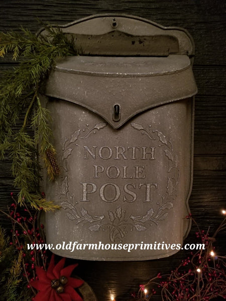 #LH7 Primitive Grey Antique Reproduction North Pole Mail Box