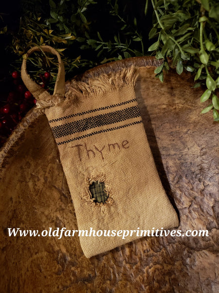 "#MQNM13 Primitive Mended Patch ""Thyme"" Feed Sack Herb Bag  (Made In USA)"