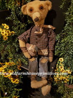 "#RPB13 Primitive Sitting Boy Bear ""Austin"" With Sheep 🐑  (Made In USA)"