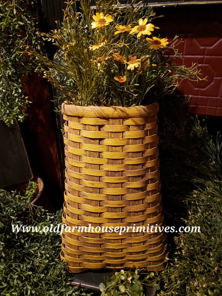 #PBBG77 Primitive Handmade Mustard Long French Basket (Made In USA)