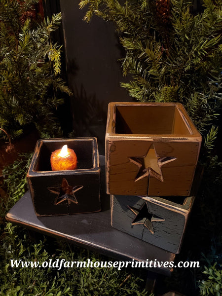 "#PPWSSB3 Primitive ""Sage Green"" Star Wood Box   (Made In USA)"