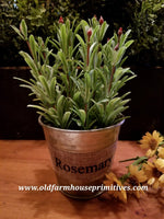 "#PPH2 Primitive Potted Herbs In Metal Pot ""ROSEMARY"""