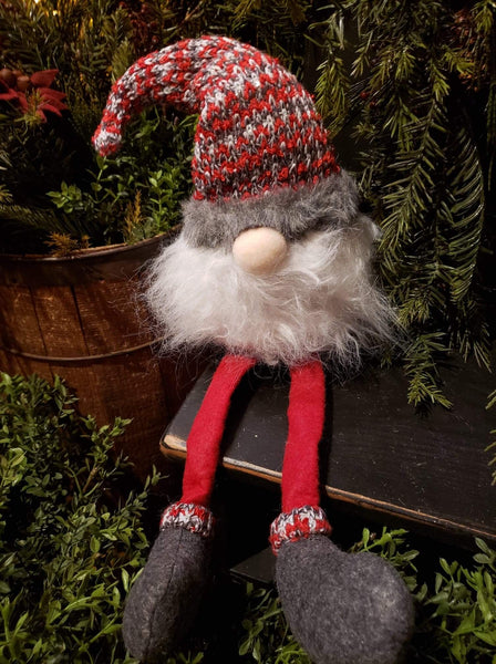 "#DLG5  Adorable Dangle Leg Gnome ""Red Knit Hat"""