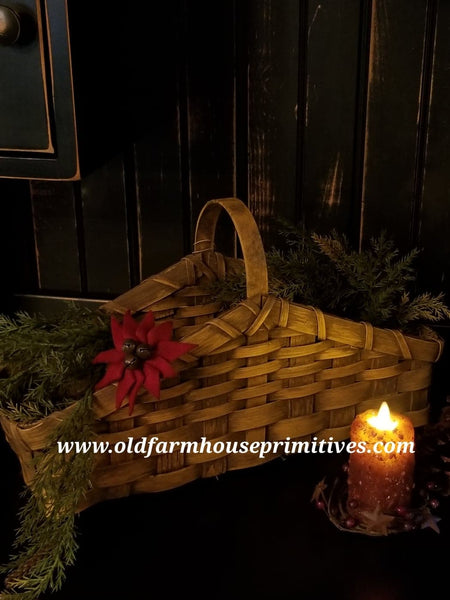 #PBBG7 Primitive Mustard Handmade Mantle Basket