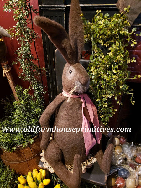 #LKB5 Large Primitive Chocolate Brown Sitting Rabbit 🐇 (Made In USA) Back In Stock!