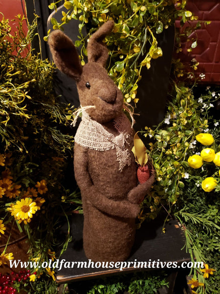 #TBHCR3 Primitive Tall Chocolate Brown Standing Rabbit Holding Carrot (Made In USA)