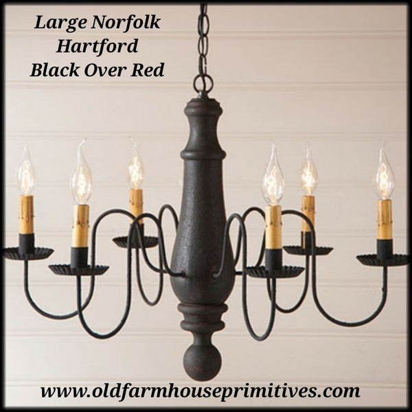 Primitive chandeliers old farmhouse primitives 9148h large wooden norfolk chandelier hartford colors made in usa aloadofball Choice Image