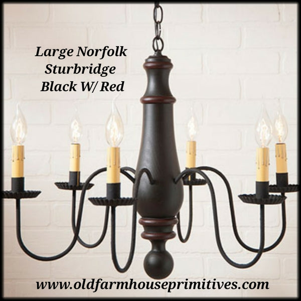 #9148S Large Wooden Norfolk Chandelier Sturbridge Colors (Made In USA)