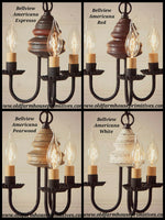 #9120T Bellview Wooden Chandelier In Americana Colors (Made In USA)