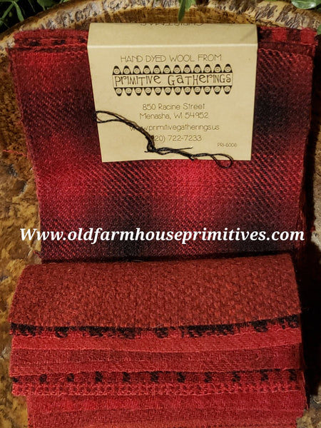 "#PGWCC Primitive Gatherings Hand Dyed Wool ""Christmas"" Fabric Charm Bundles100% Wool Fabric"