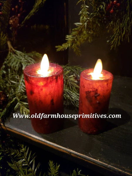 "#RJ166 Primitive Flameless Candle ""Cranberry Red"" (Made In USA)"